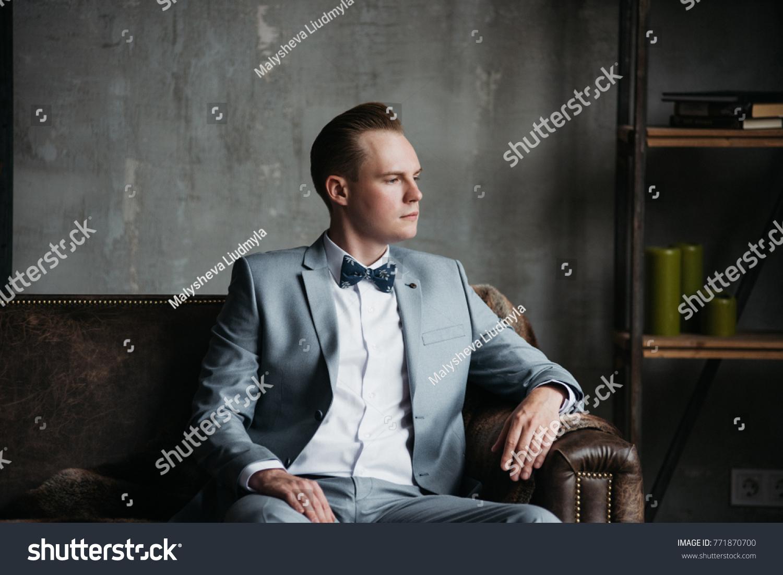 Portrait Man Groom Gray Suit White Stock Photo 771870700 ...