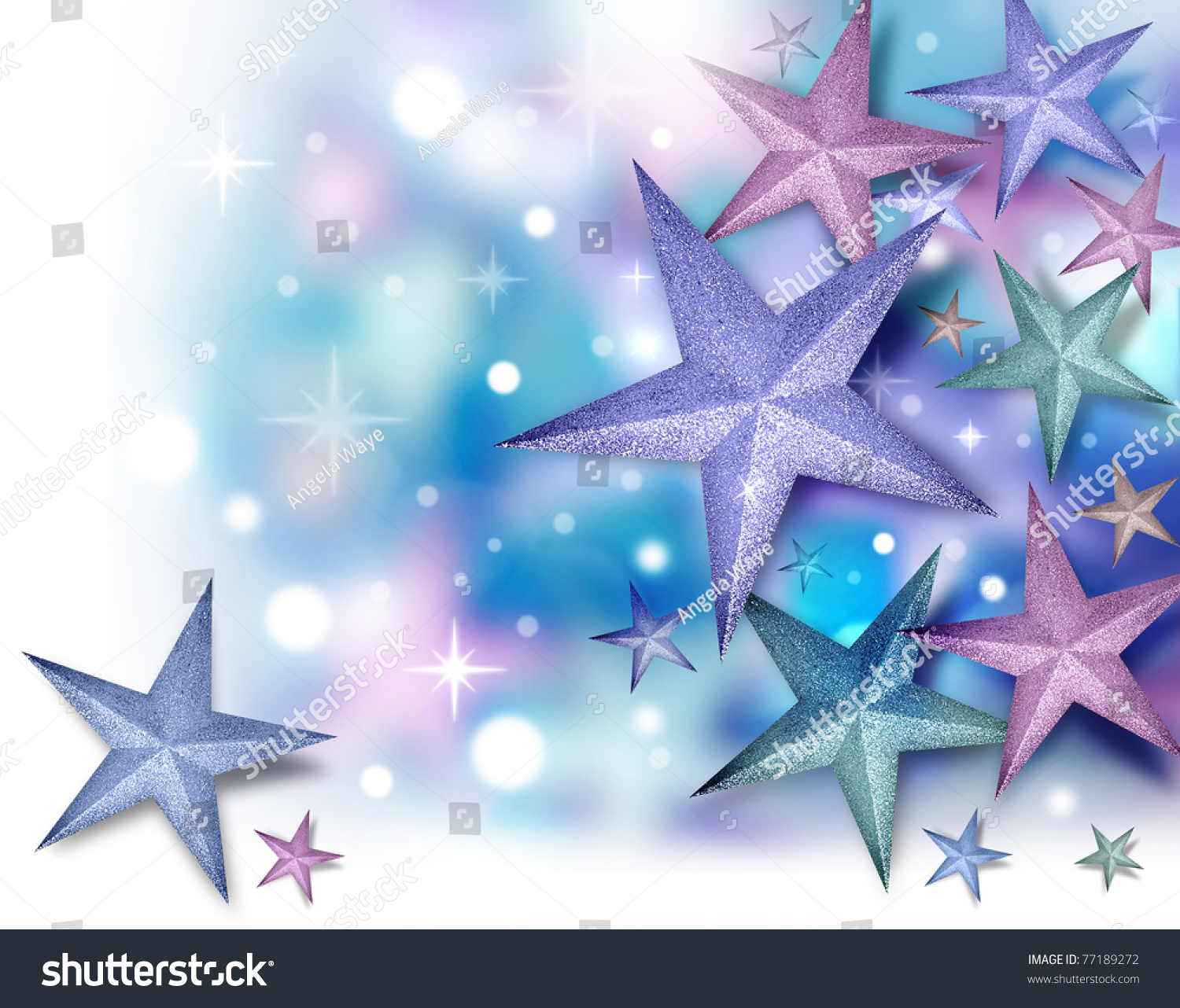 A Purple Blue And Pink Glitter Star Background With