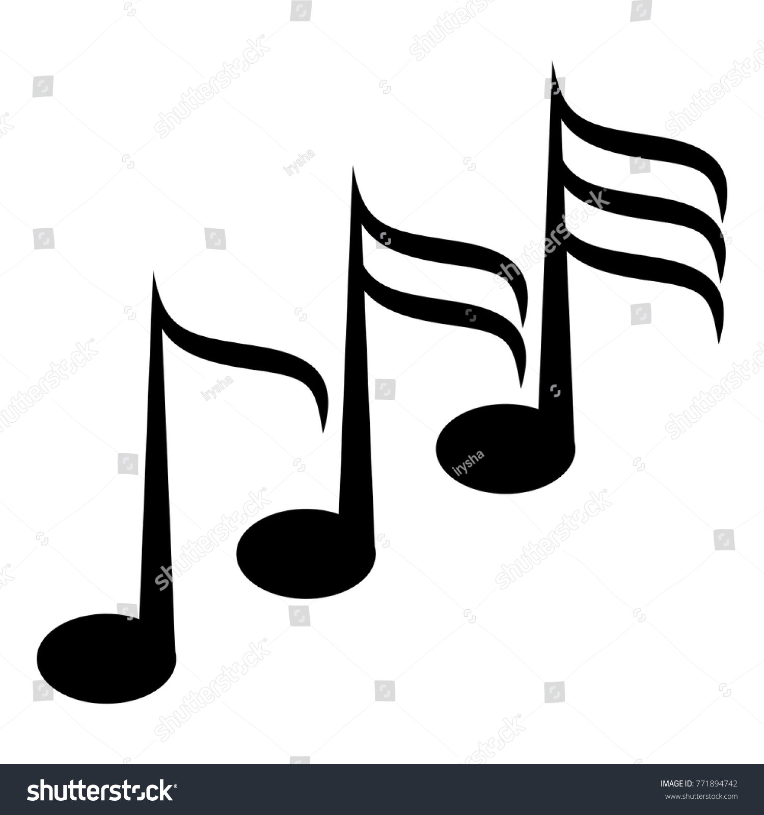 Set Music Note Icon Black Musical Stock Vector Royalty Free
