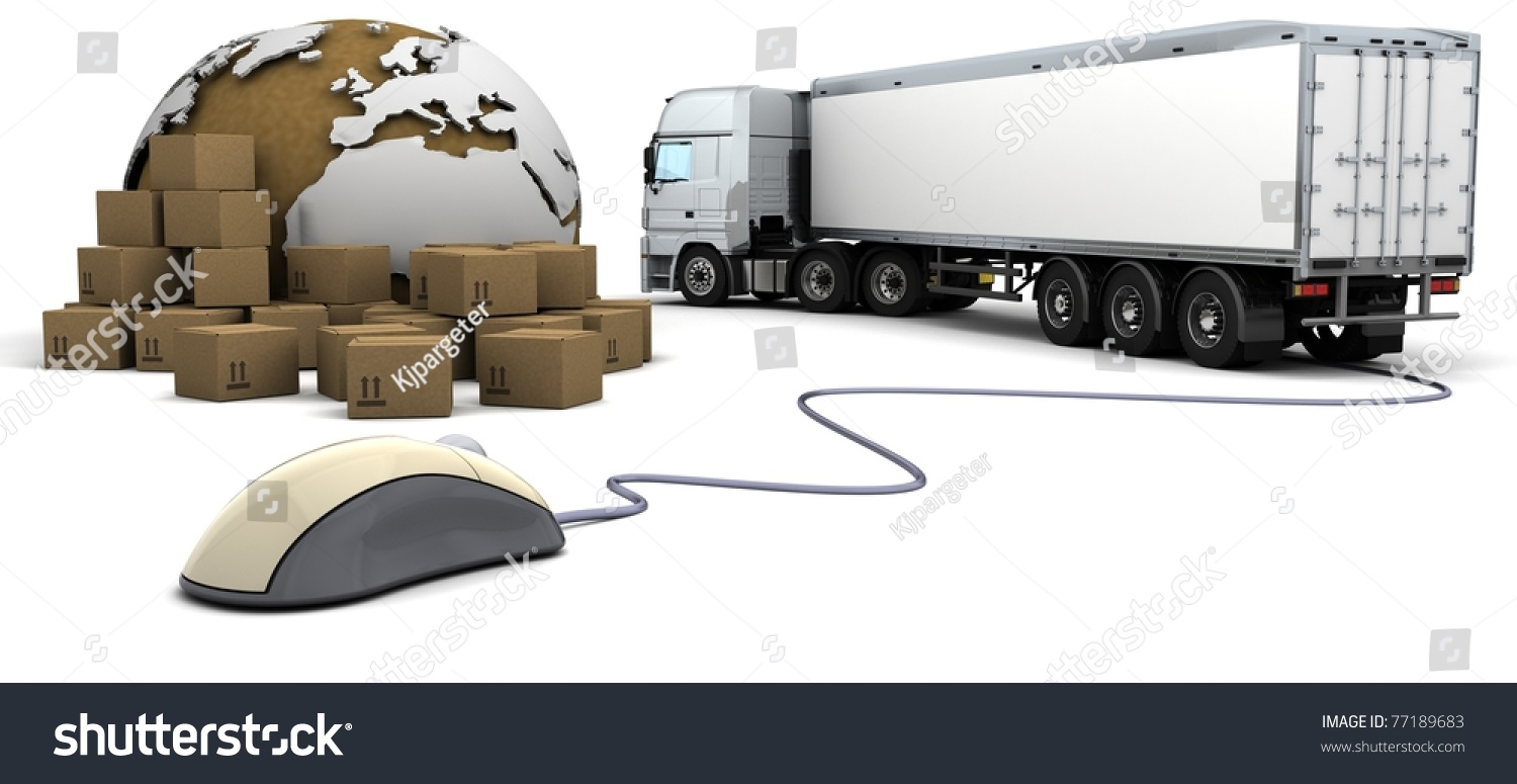 3d Render Of Online Freight Order Tracking Stock Photo