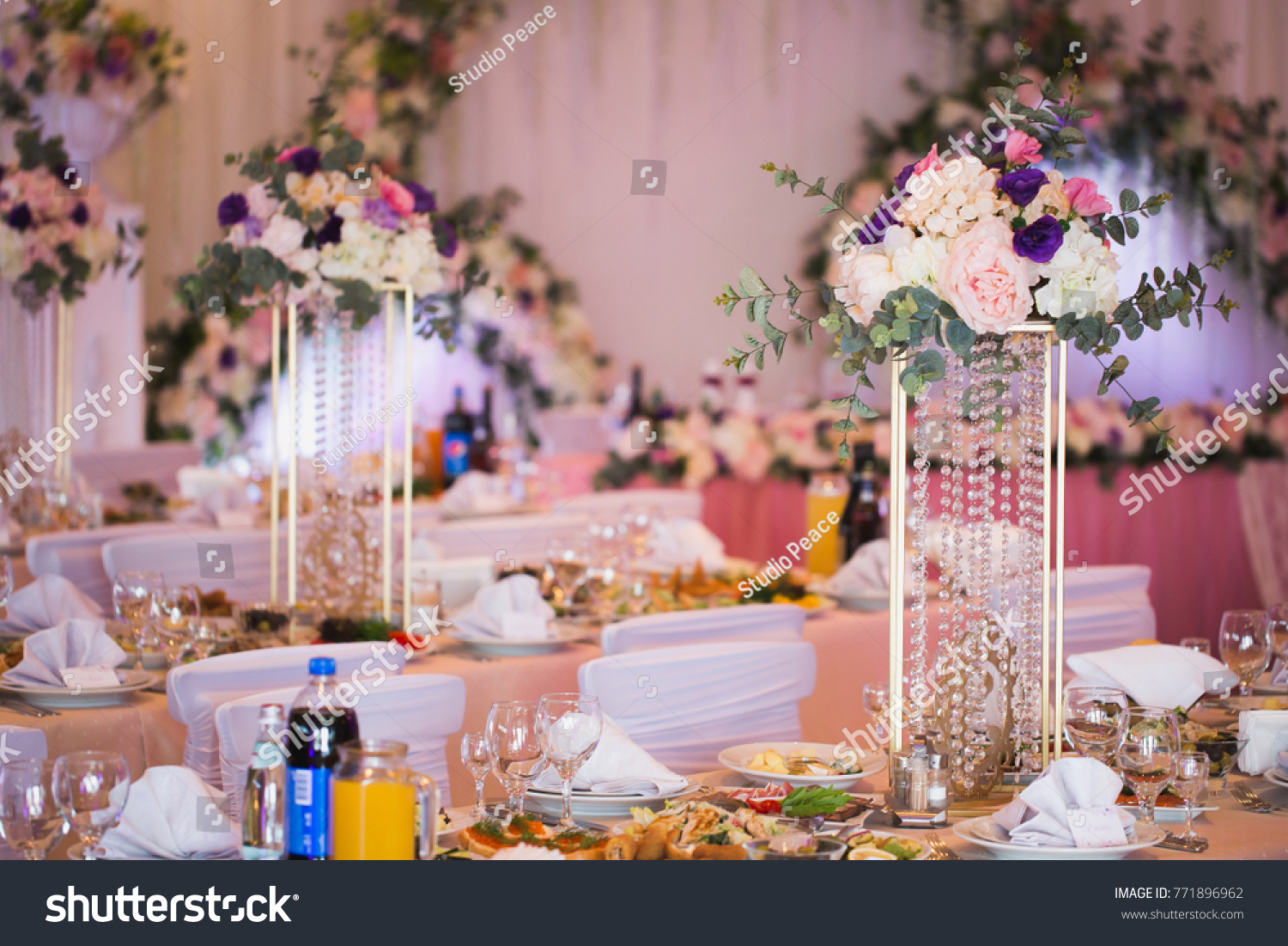 Luxury Decorated With Flowers And A Festive Banquet Hall Restaurant