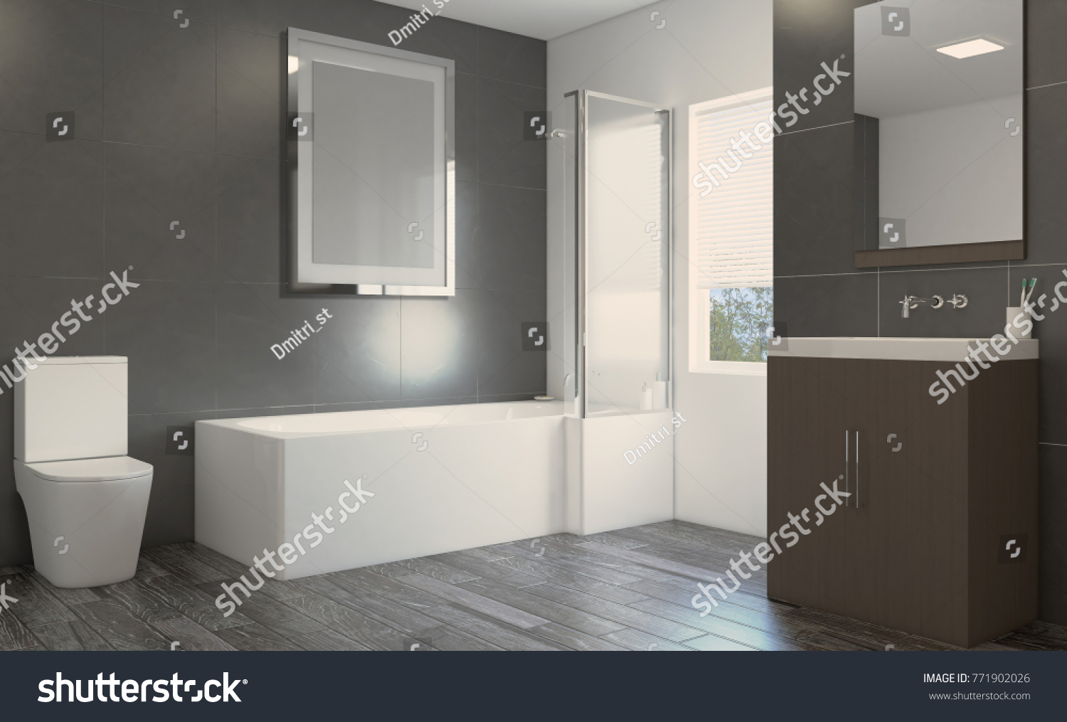 Scandinavian Bathroom Classic Vintage Interior Design 3D Rendering Empty Picture
