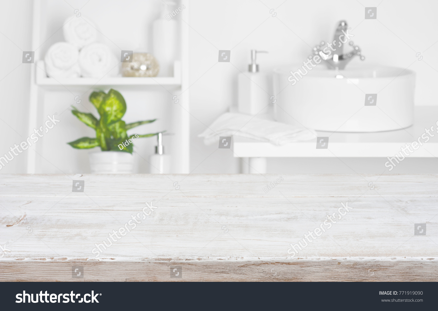 Wooden Table Over Blurred Spa Salon Stock Photo (Edit Now) 771919090 ...