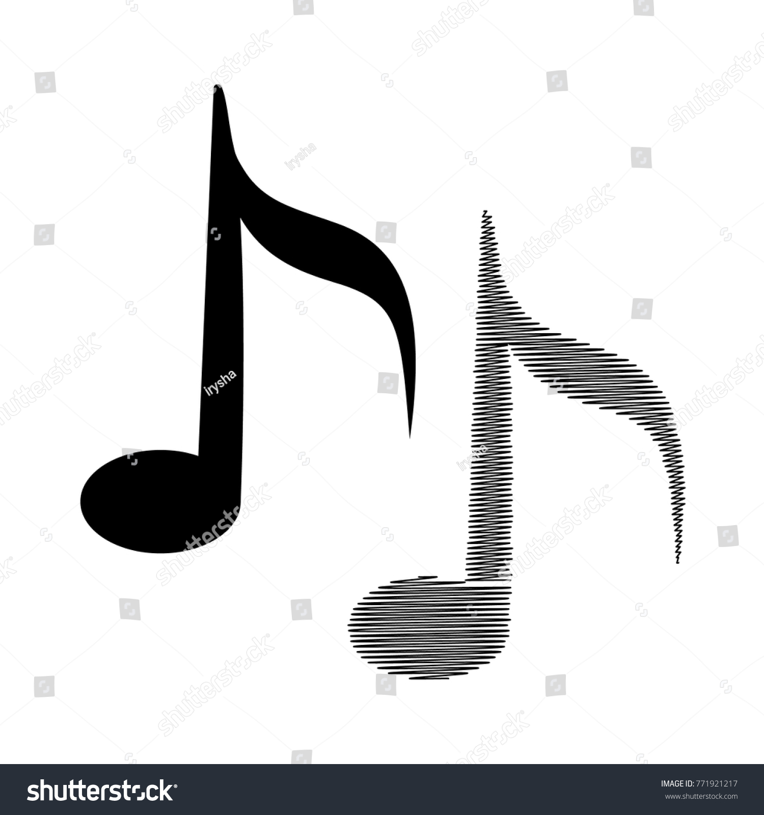 Music Note Icons Signature Symbols Web Stock Vector Royalty Free