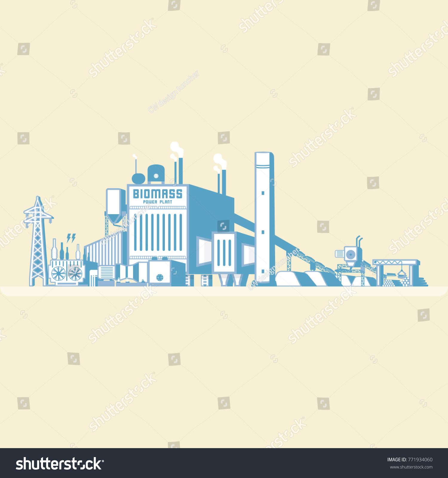 Biomass Energy Biomass Power Plant Boiler Stock Vector (Royalty Free ...