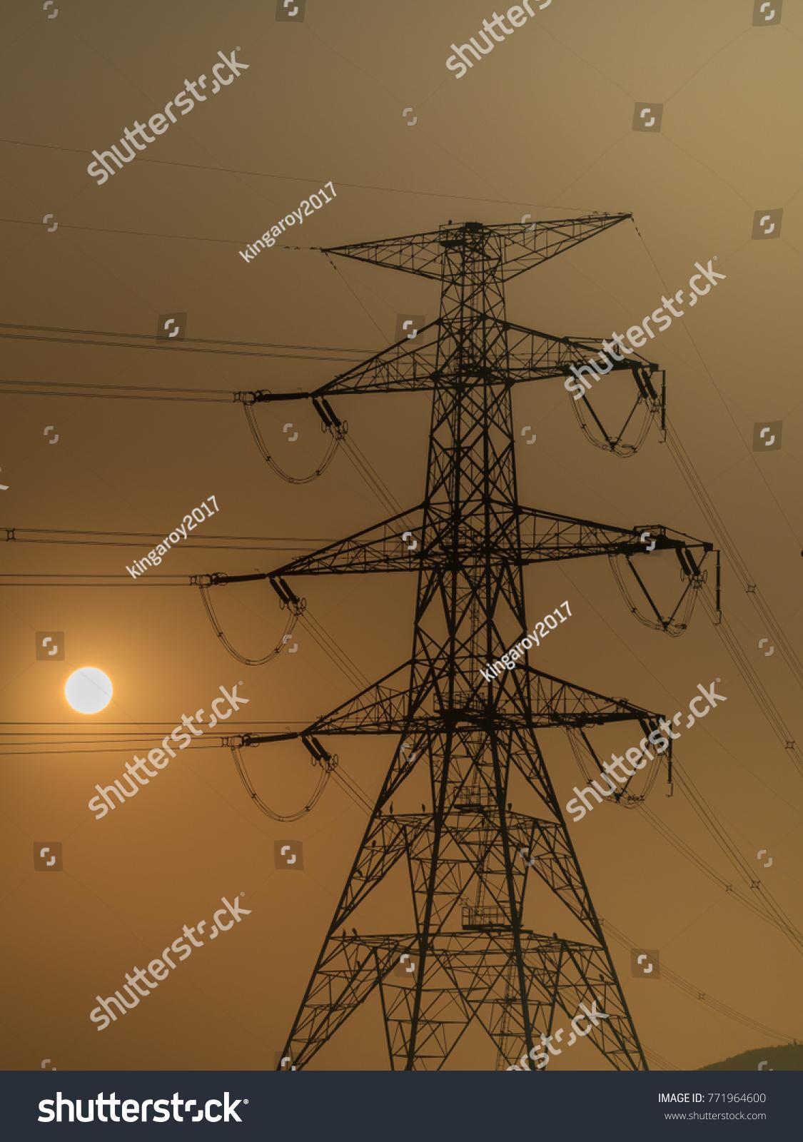How Identify Voltage Power Lines Sun Stock Photo (Edit Now