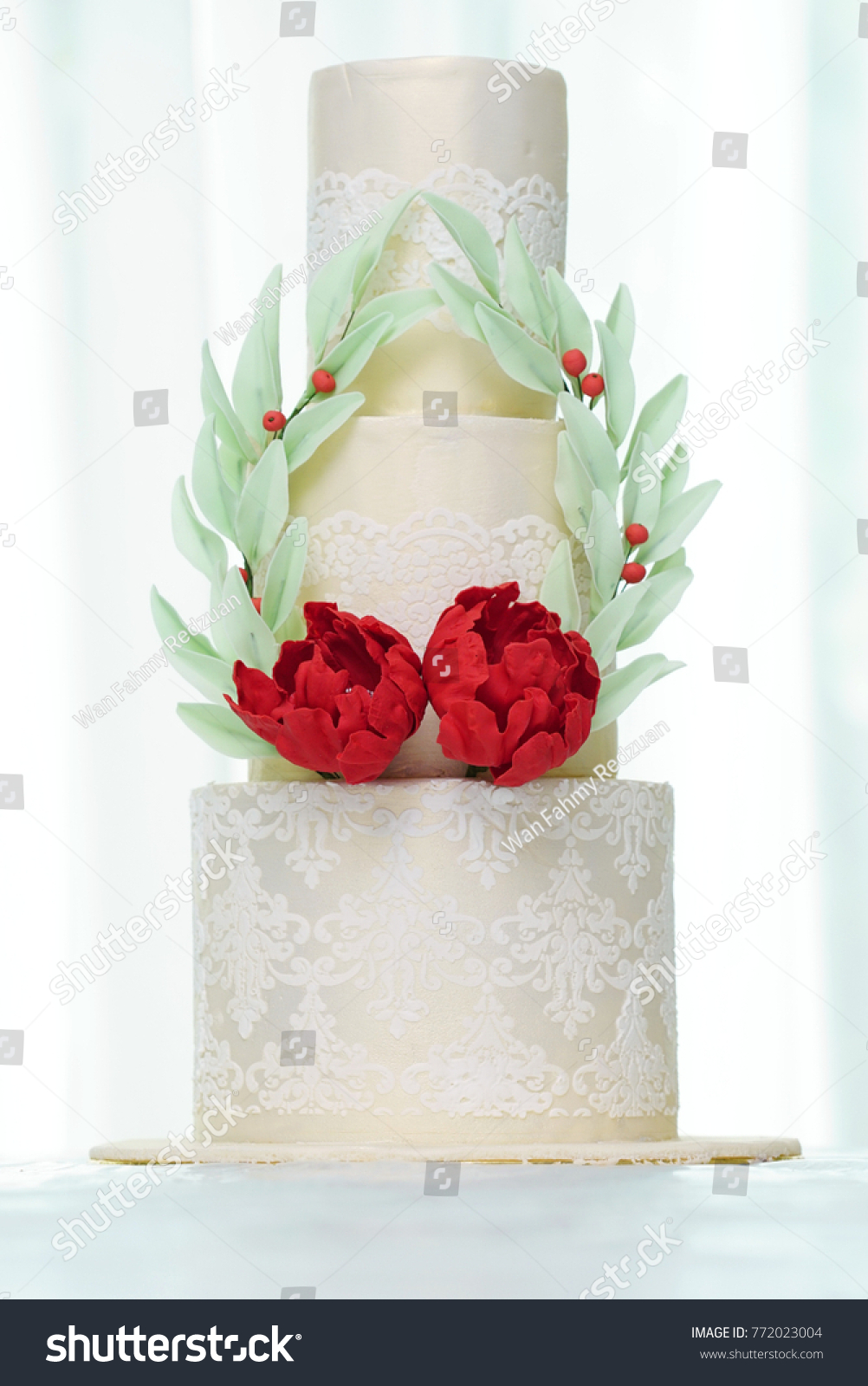 Three Tier Wedding Cakes Red Flowers Stock Photo (100% Legal ...