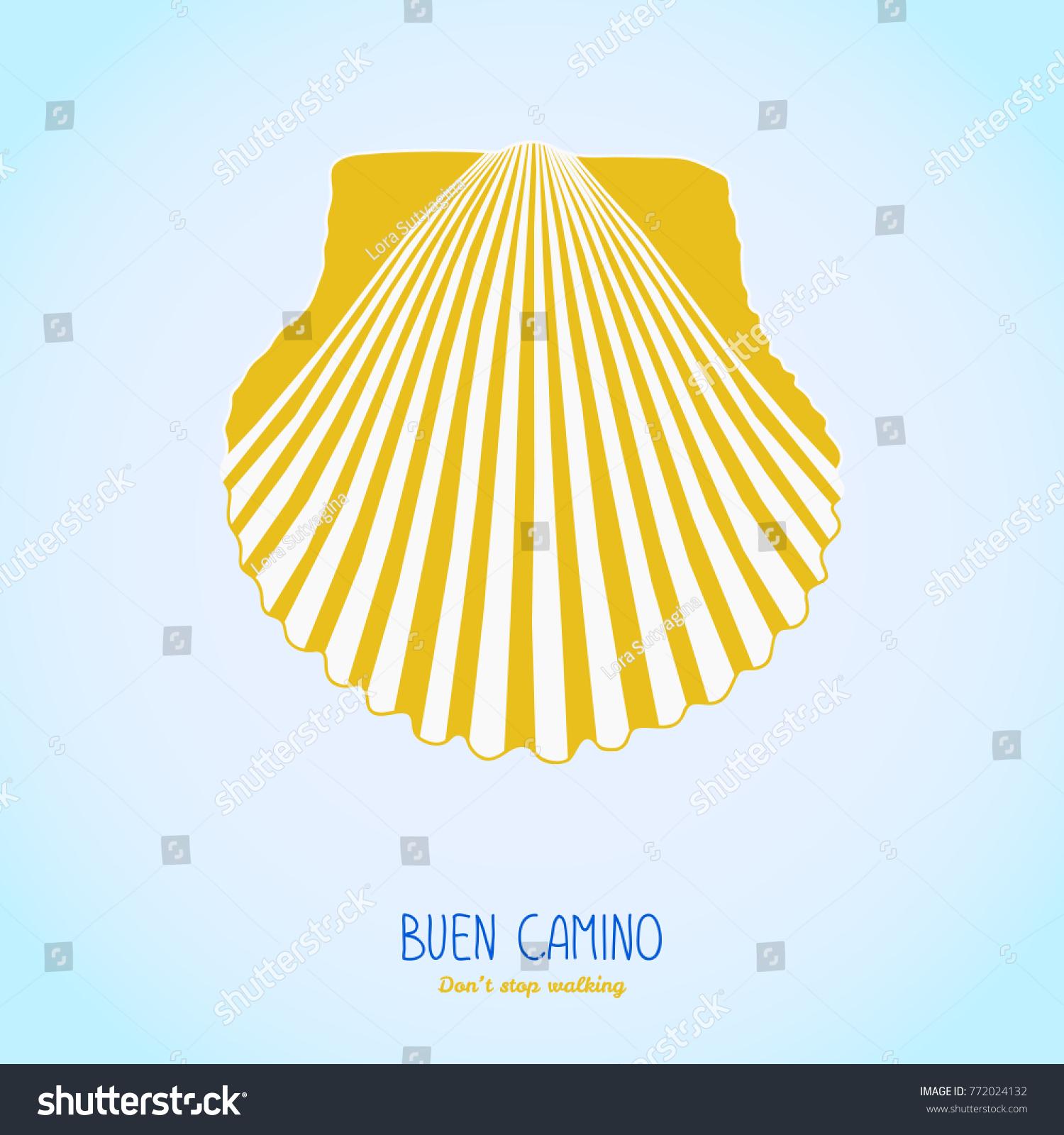 Yellow scallop shell symbol camino de stock vector 772024132 symbol of the camino de santiago in spain buen camino biocorpaavc