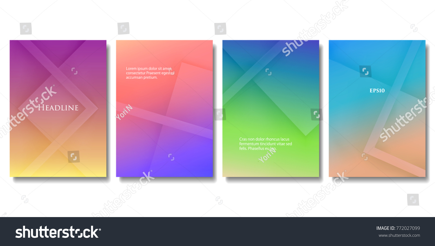 set of vector colorful brochure templates abstract three dimensional blocks with gradient effect applicable