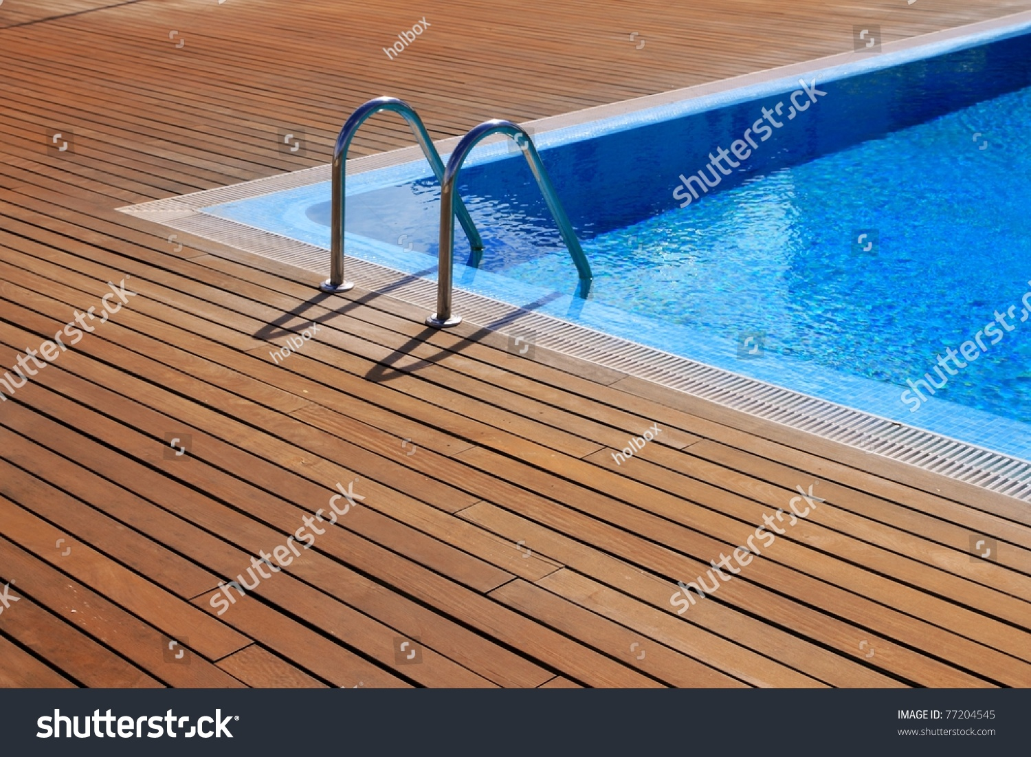 Blue Swimming Pool Teak Wood Flooring Stock Photo 77204545 Shutterstock