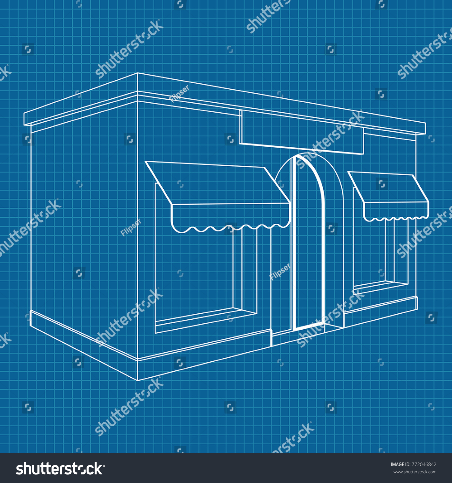 Store front white outline drawing on stock vector 772046842 store front white outline drawing on blueprint background vector illustration malvernweather Images