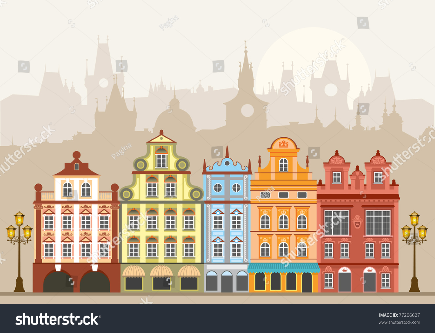 Street With Houses In Different rchitectural Styles nd olors ... - ^