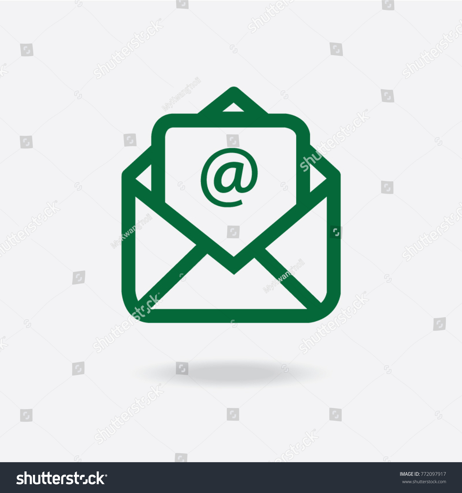 Outline Email Icon Isolated On Grey Stock Vector Royalty Free