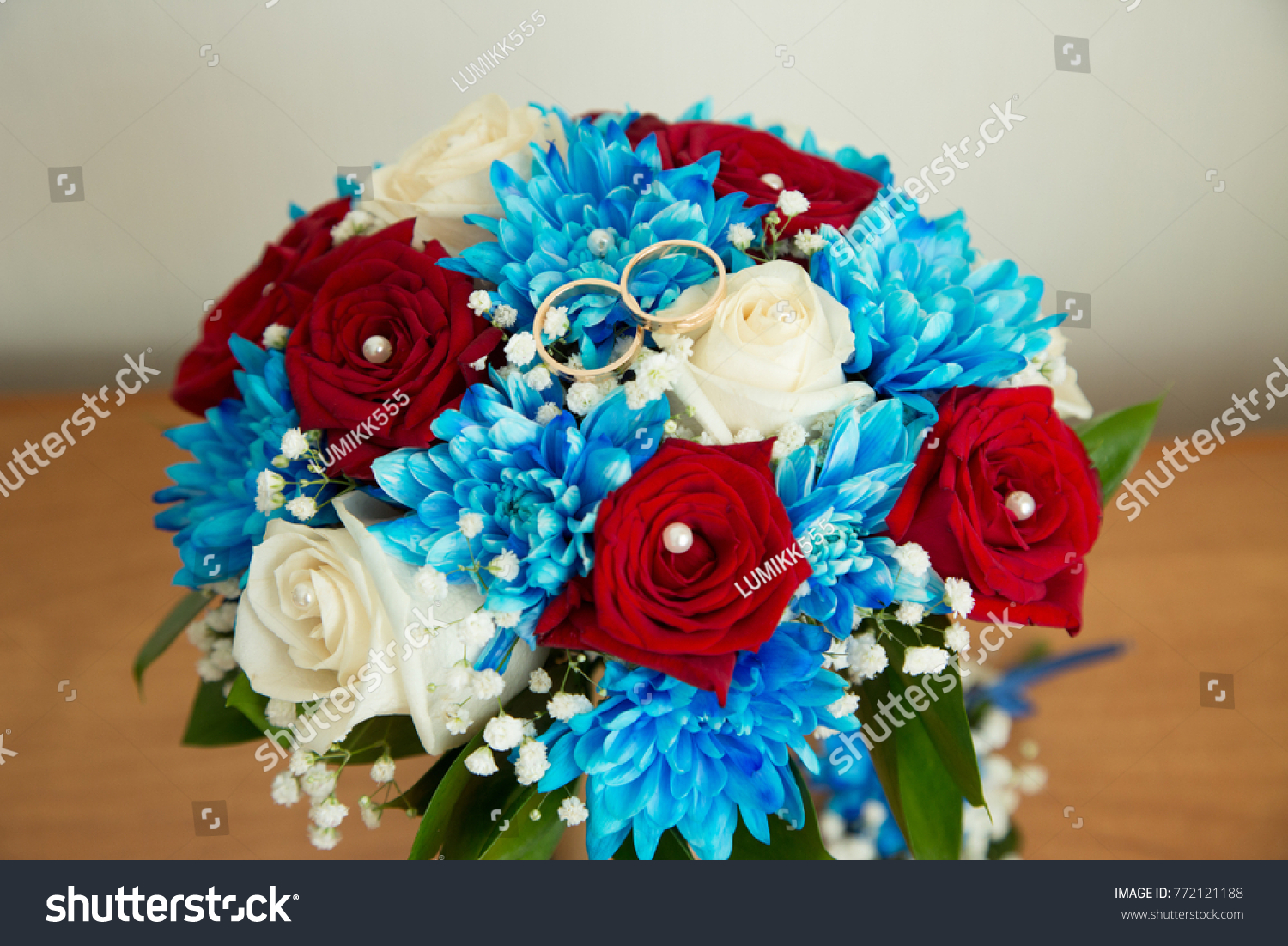 Beautiful Wedding Bouquet Red White Flowers Stock Photo Royalty