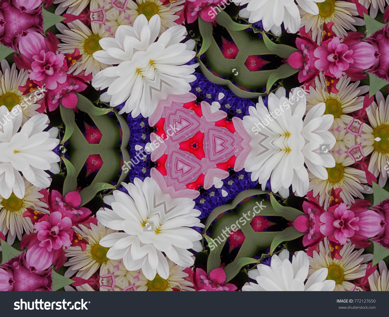 Spring flower petals leaves kaleidoscope background stock spring flower petals and leaves kaleidoscope background has beautiful natural flowers and leaves combined to make izmirmasajfo