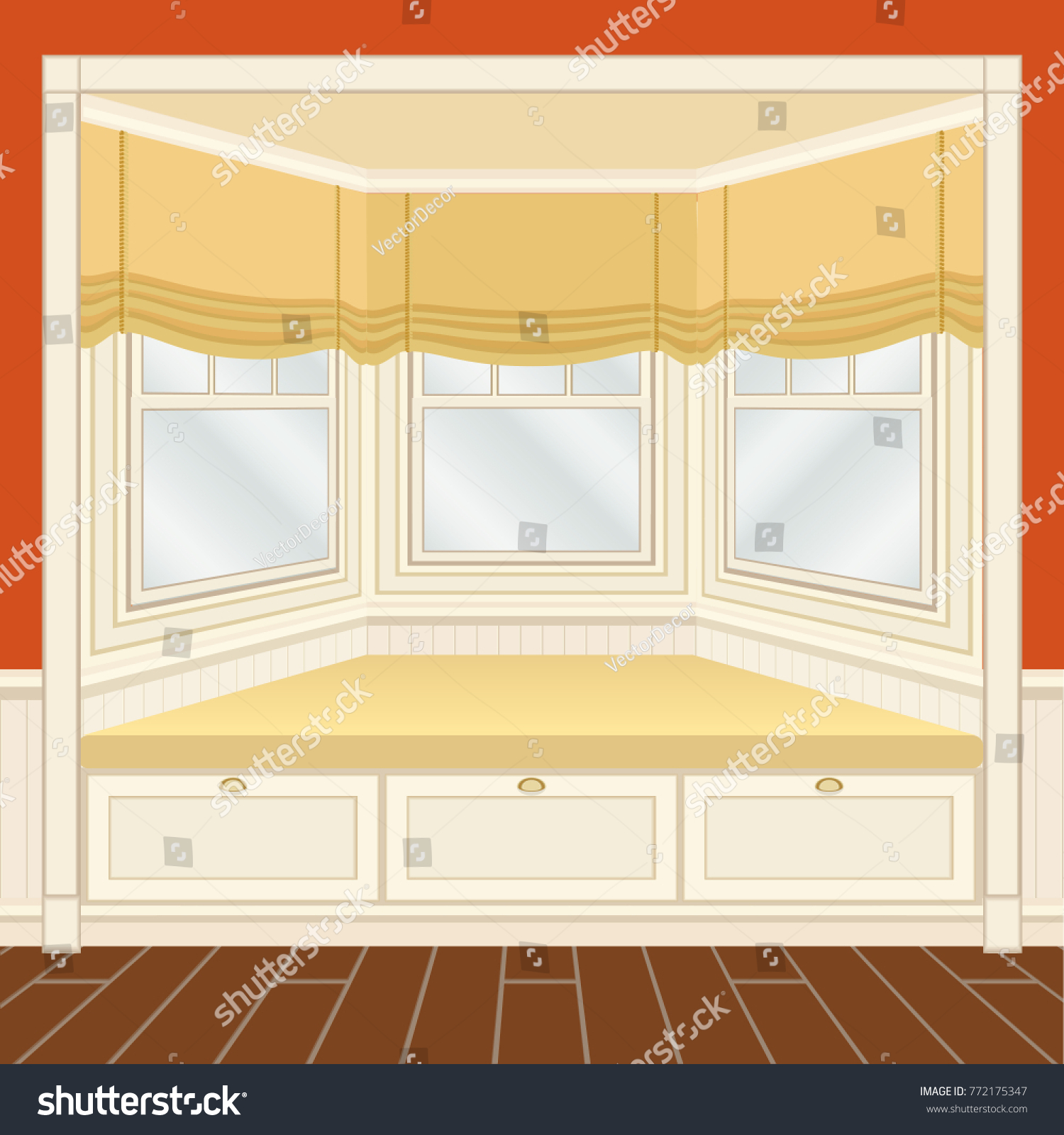 Classic Room Interior Oriel Window Seat Stock Vector 772175347 ...