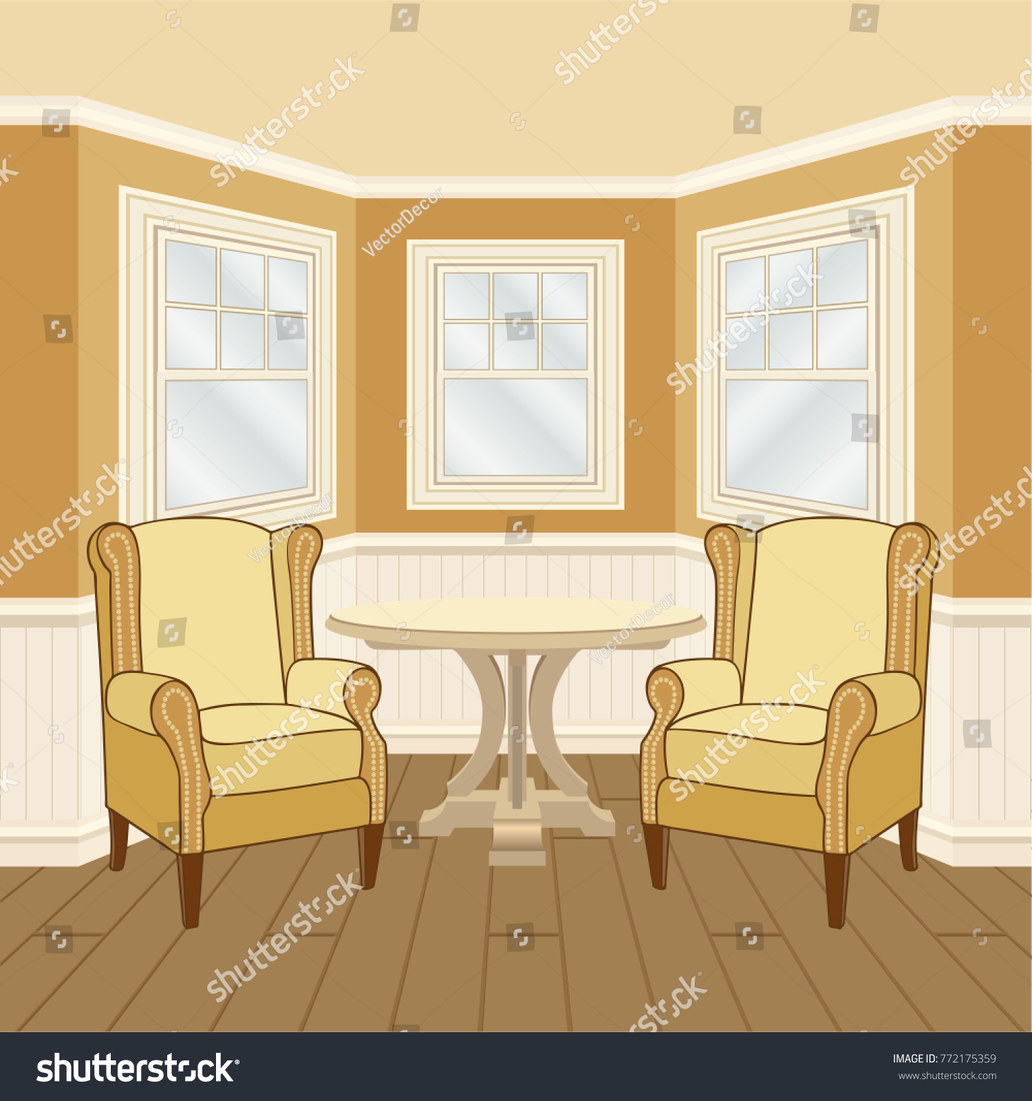 Classic Room Interior Oriel Windows Walls Stock Vector (Royalty Free ...
