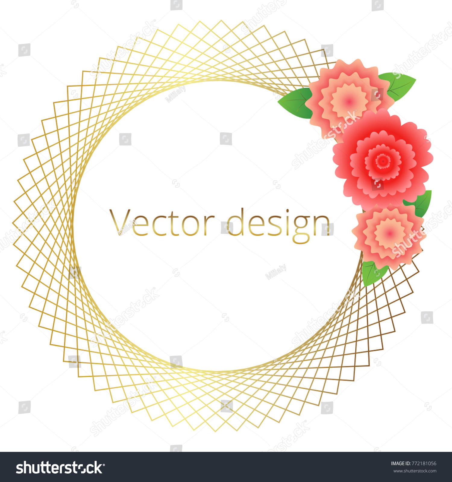 Gold Frames Flowers Floral Greeting Valentines Stock Vector ...