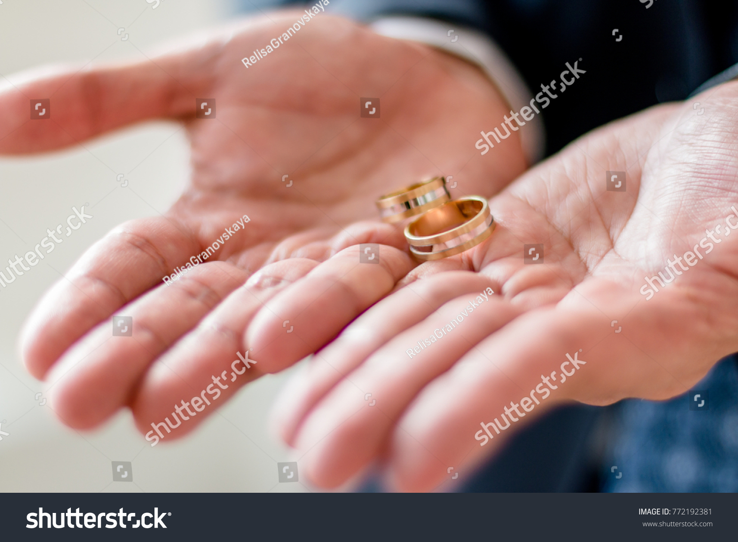 Man Holds Two Rings His Hands Stock Photo (Royalty Free) 772192381 ...