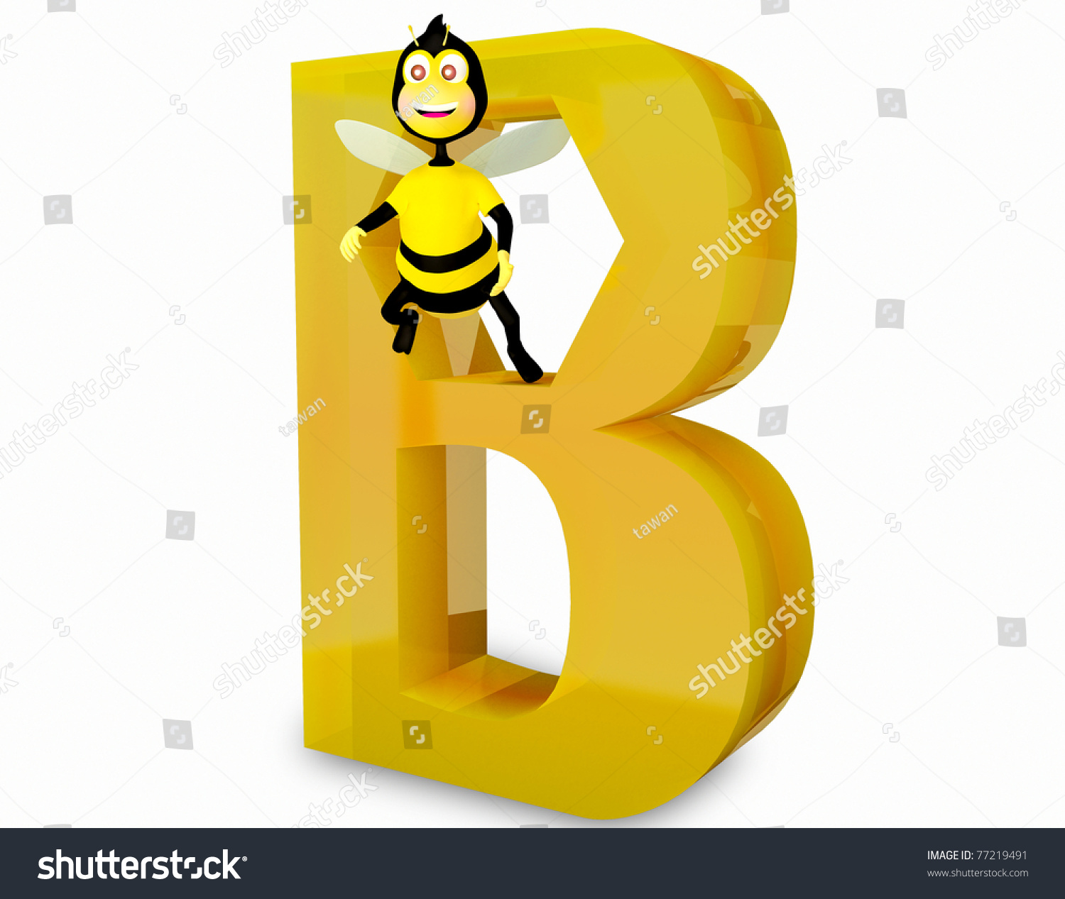 isolated animal alphabet b for bee on white