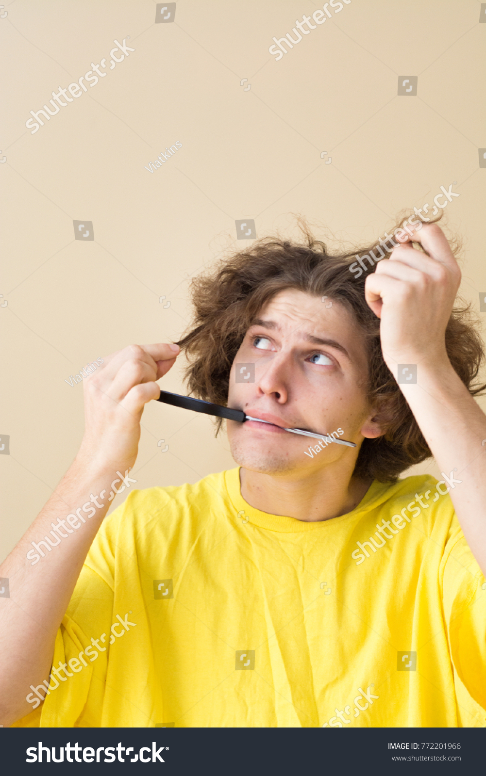 Funny Young Man Needs Haircut Dont Stock Photo Edit Now 772201966