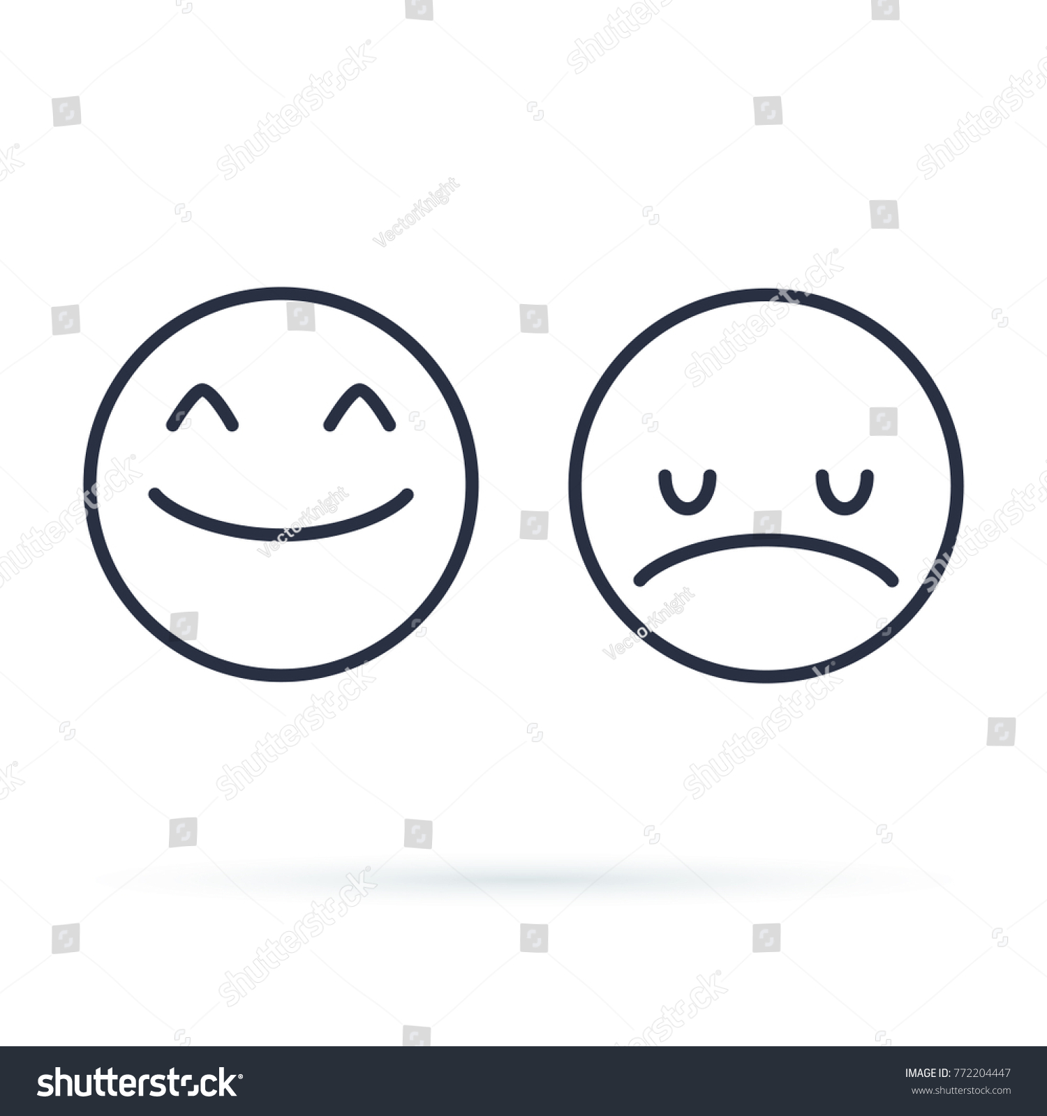 Smiling face smiling eyes sad emoticon stock illustration 772204447 smiling face with smiling eyes and sad emoticon line icon outline sign linear style biocorpaavc Images