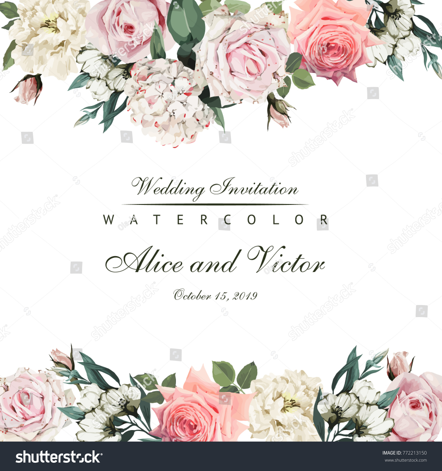 Greeting Card Flowers Watercolor Can Be Stock Vector Royalty Free