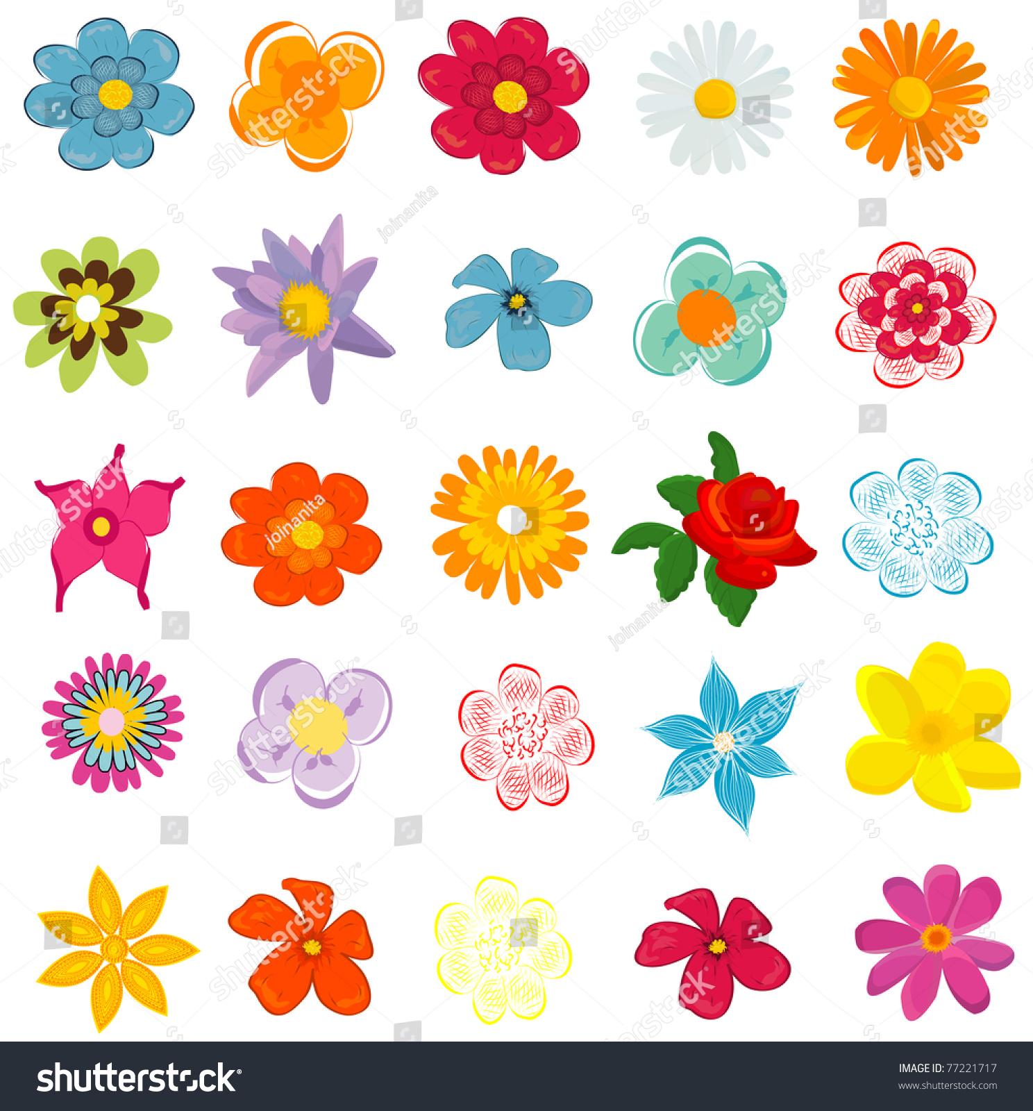 Colorful Spring Flowers Vector Illustration Stock Vector Royalty
