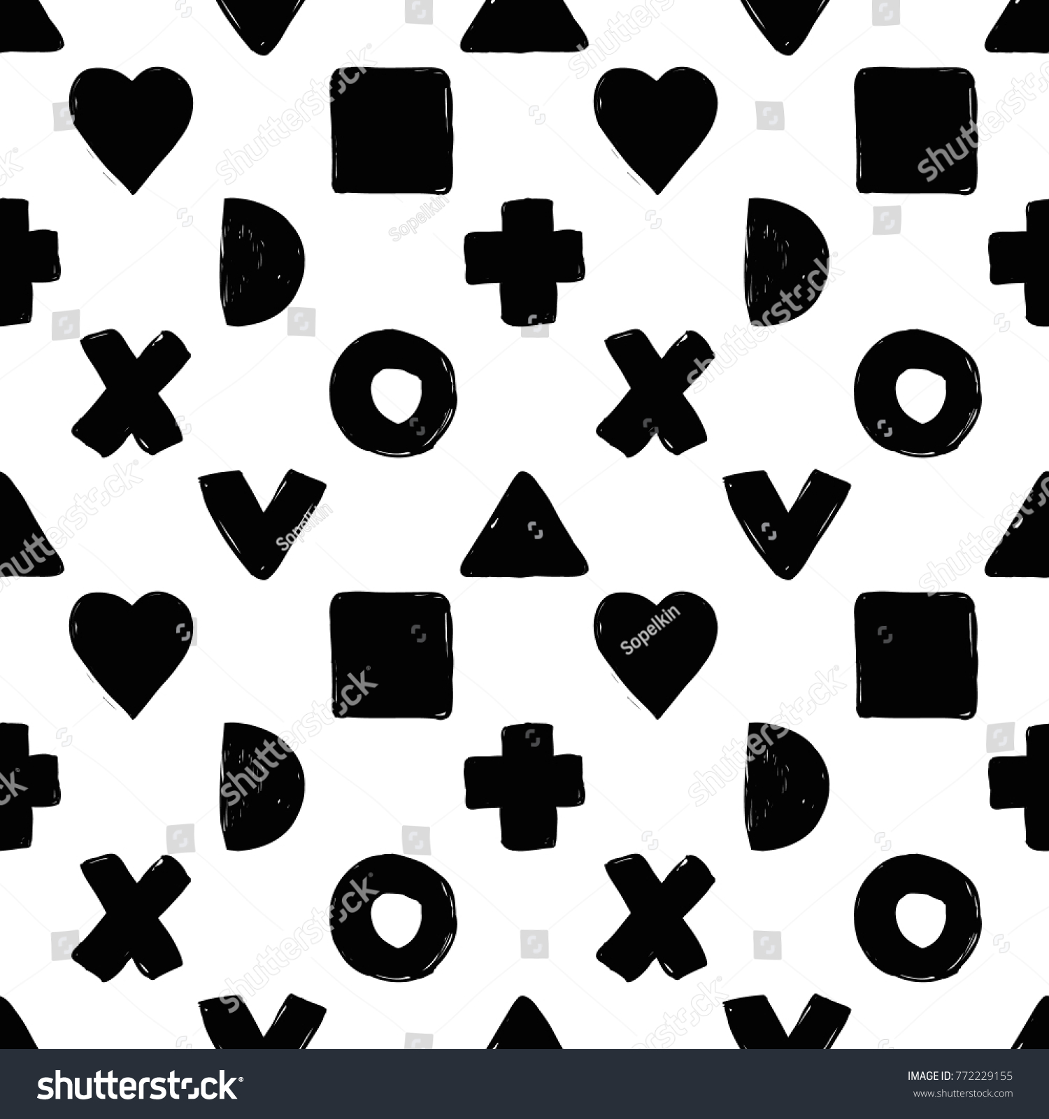 Modern kids bw seamless pattern square stock vector 772229155 modern kids bw seamless pattern with square x cross v half moon buycottarizona Image collections