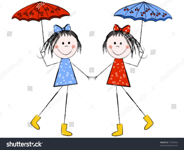 twin girls umbrellas holding hands stock vector 77225956