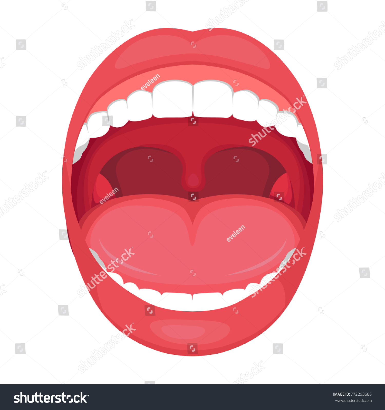 Vector Illustration Anatomy Human Open Mouth Stock Vektorgrafik