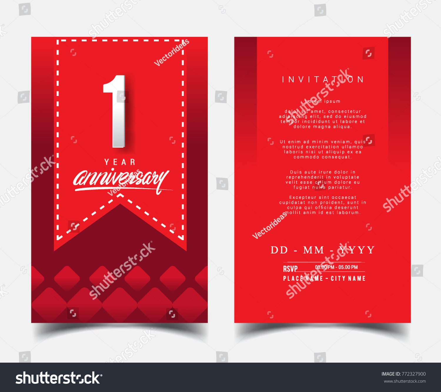 1 year anniversary invitation greeting card flat stock vector hd 1 year anniversary invitationgreeting card with flat design and elegant isolated on red stopboris Image collections