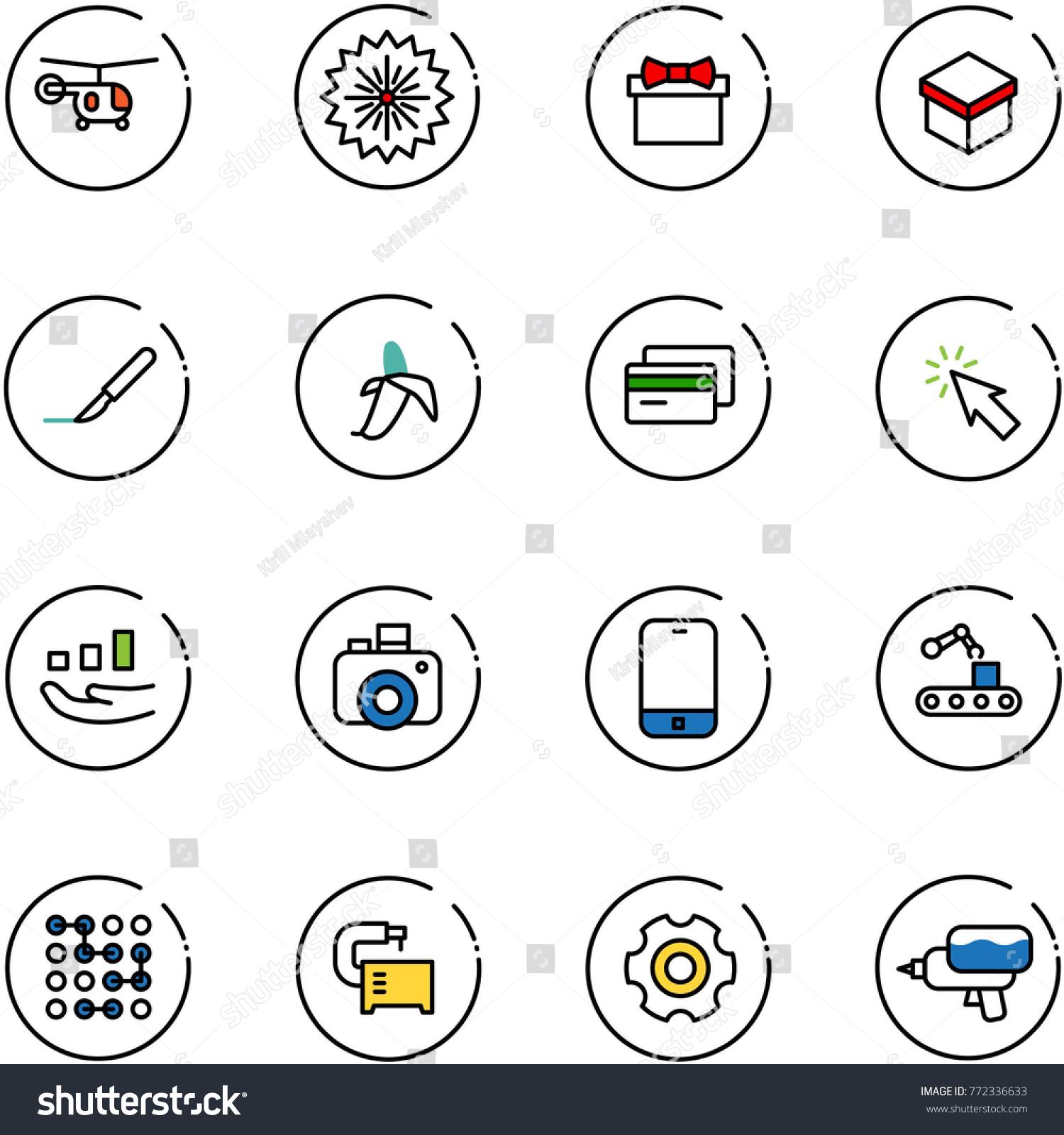 Line vector icon set helicopter vector stock vector 772336633 line vector icon set helicopter vector firework gift scalpel banana biocorpaavc