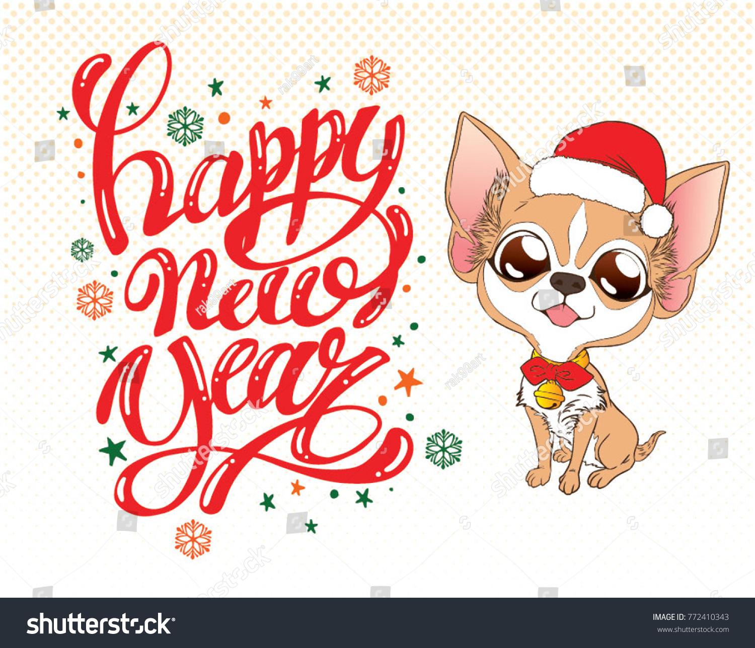 Cute Chihuahua Sit Happy New Year Stock Vector Royalty Free