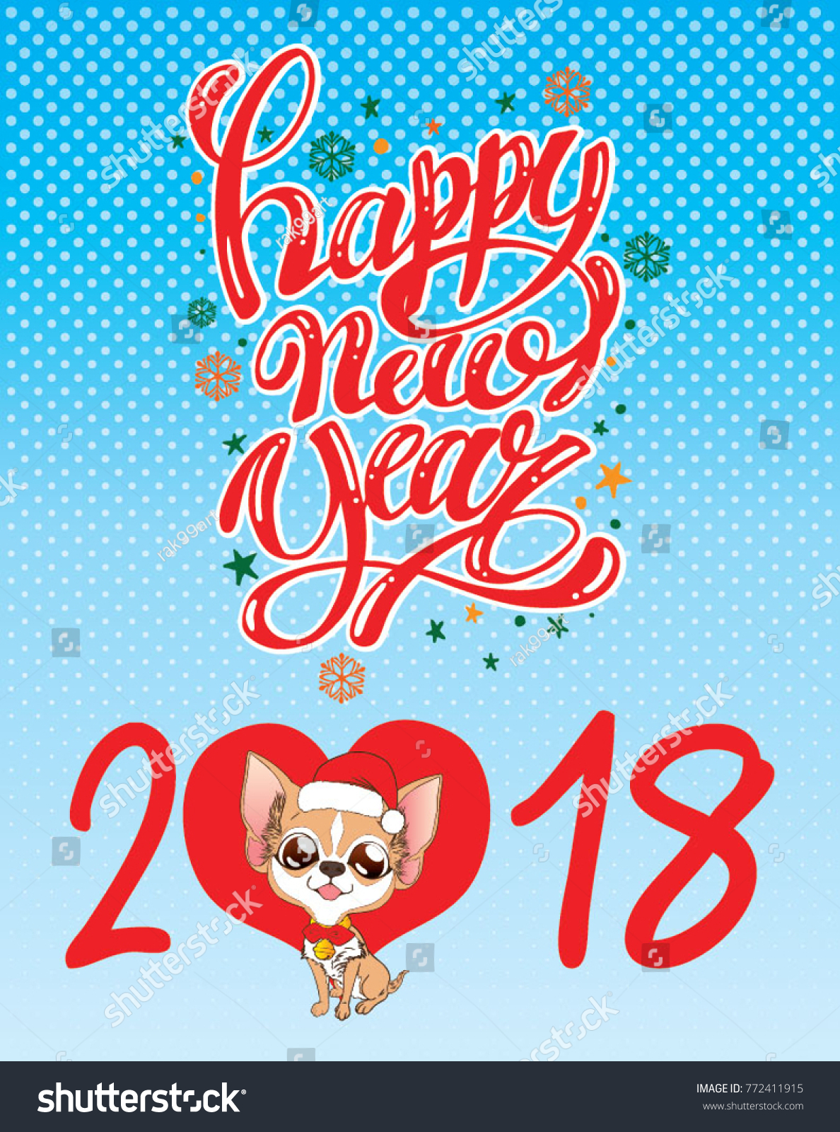 cute chihuahua sit happy new year greetings with light blue background