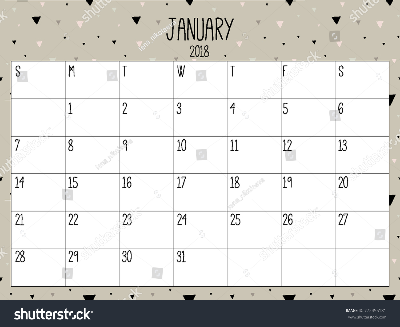 january planner modern creative calendar 2018 stock vector royalty