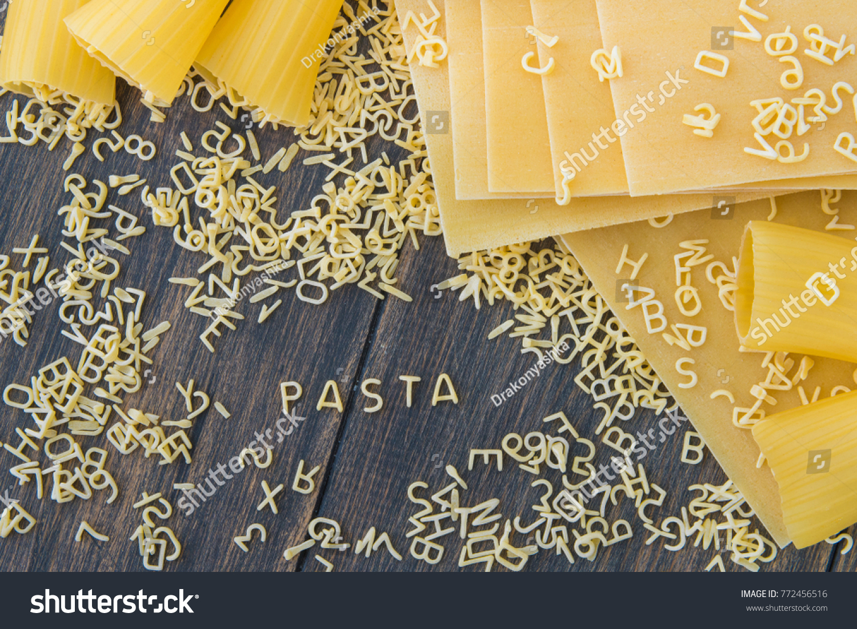 Uncooked Raw Pasta Alphabet Yellow Letters Stock Photo 772456516