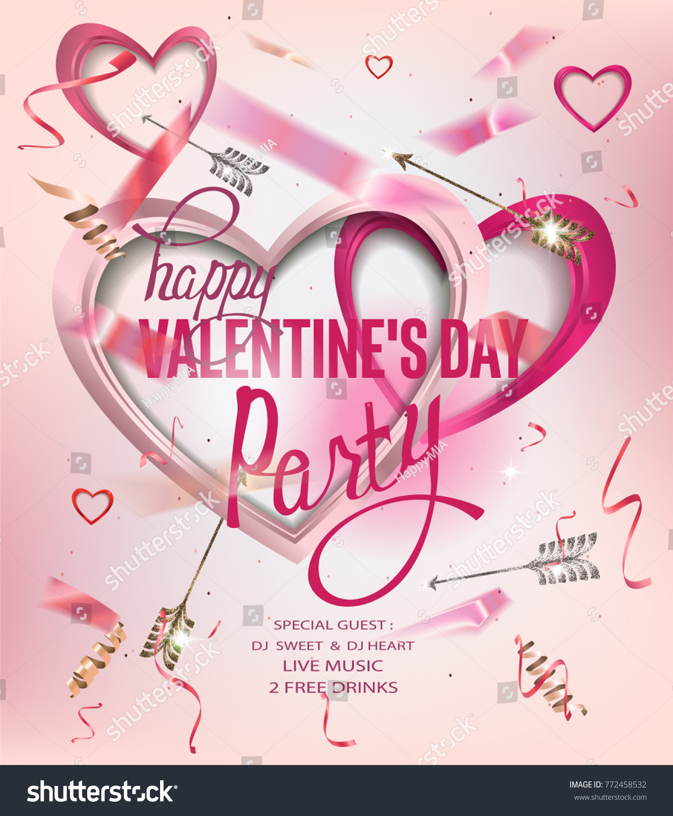 Valentines Day Party Invitation Card Hearts Stock Vector 772458532 ...