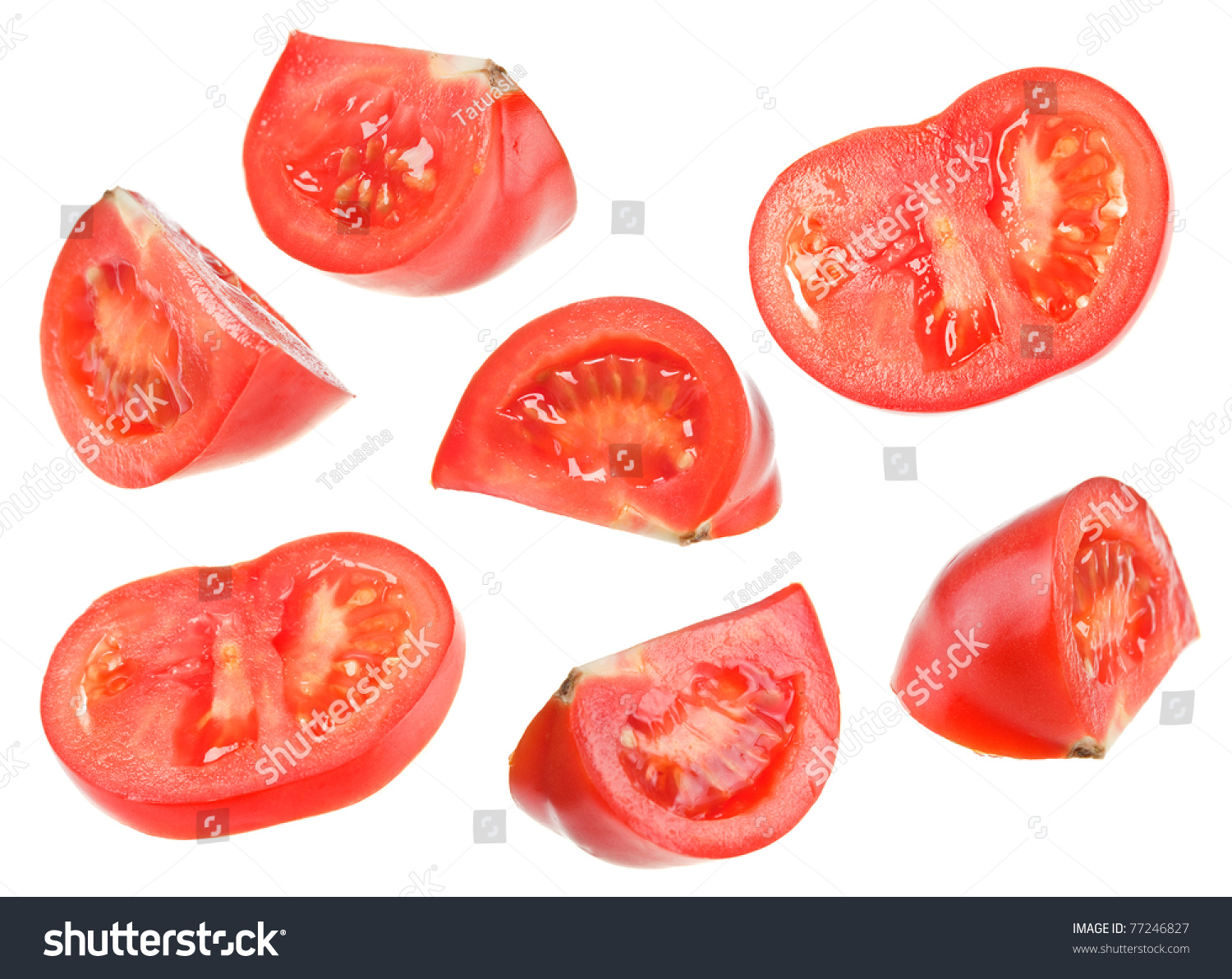red tomato slice collage isolated on stock photo edit now 77246827