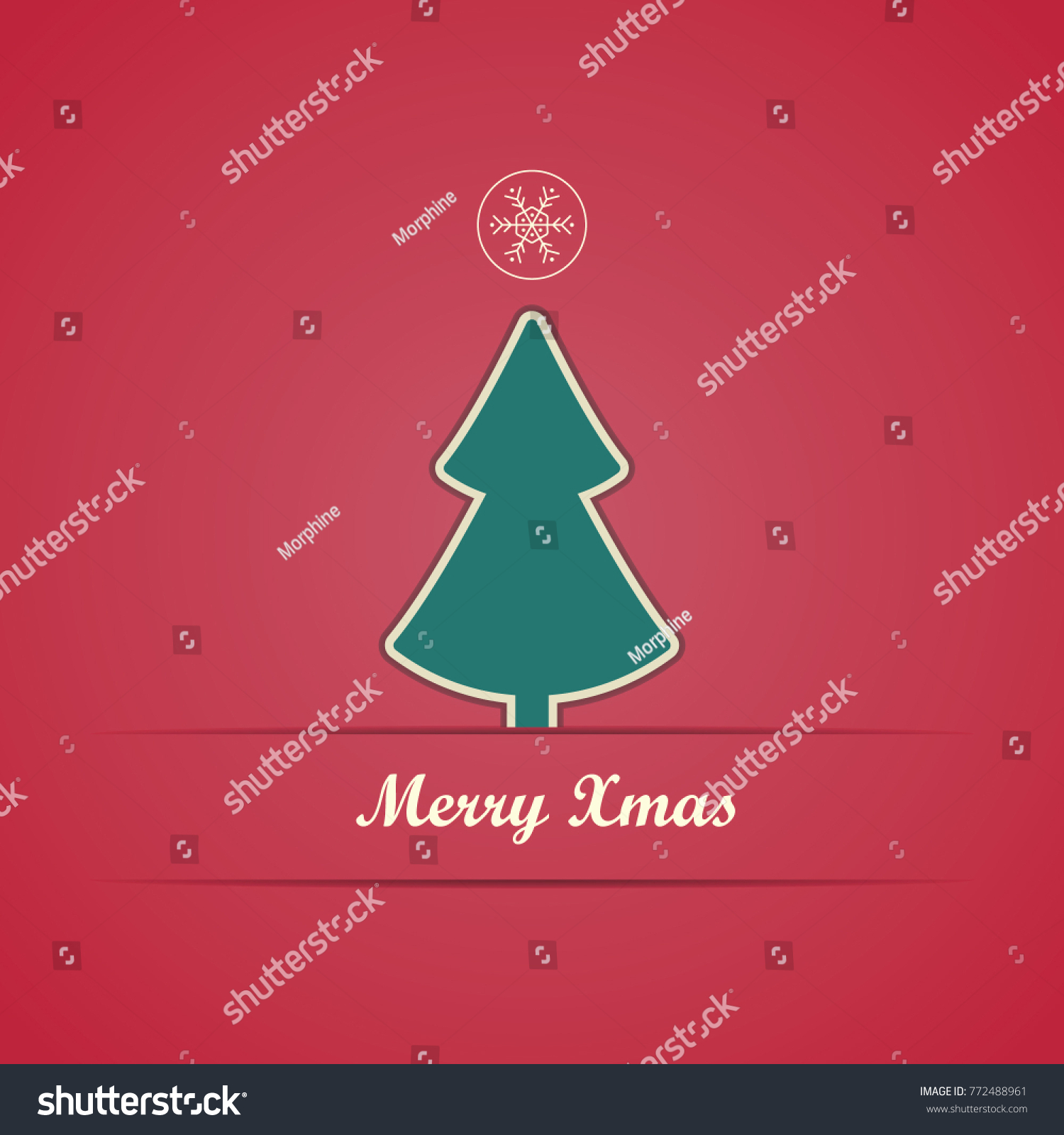 Simple Christmas Greeting Card On Red Stock Vector 772488961