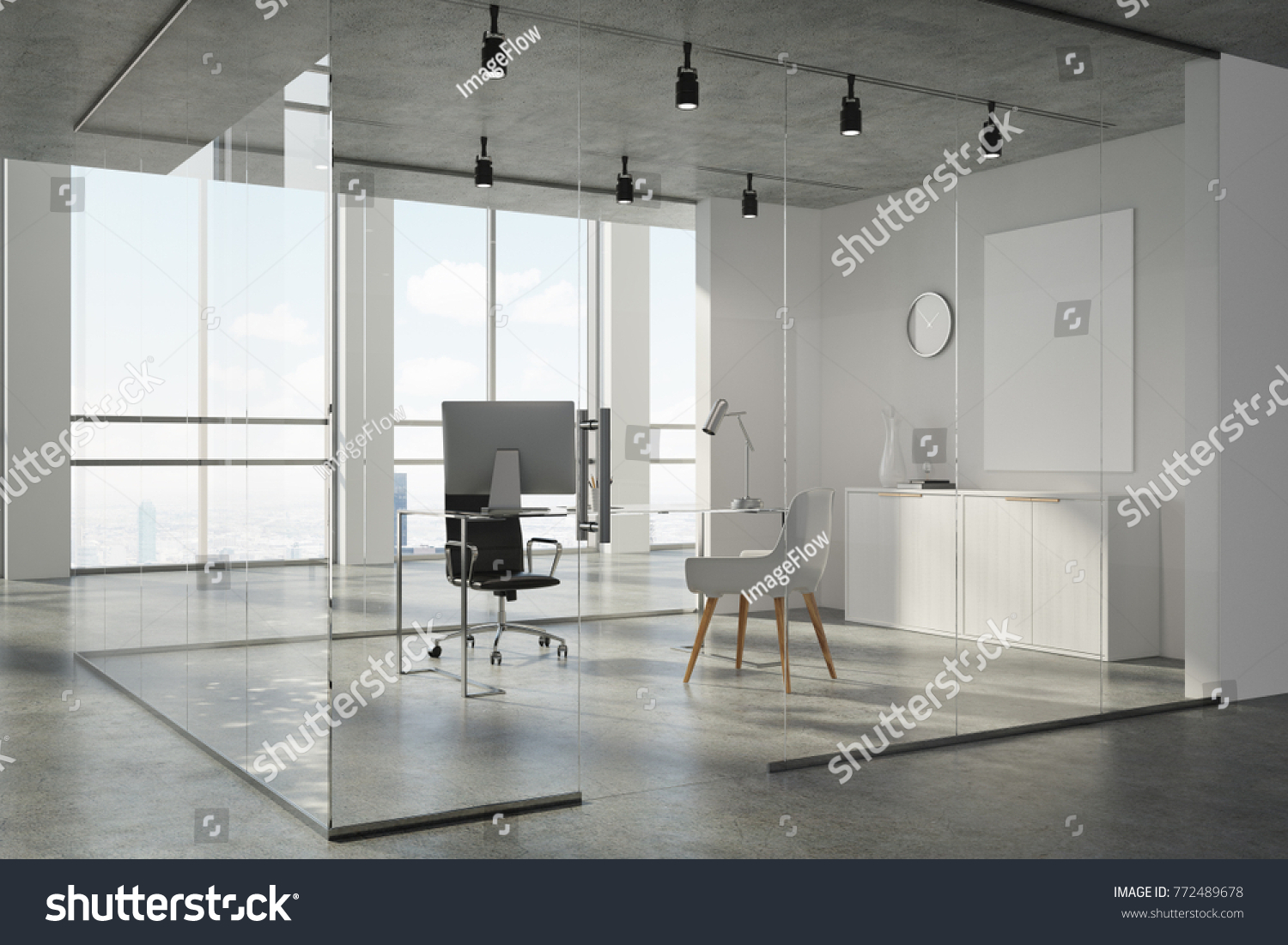office corner. Concrete Ceiling Office Corner With White And Glass Walls, A Floor Doors N