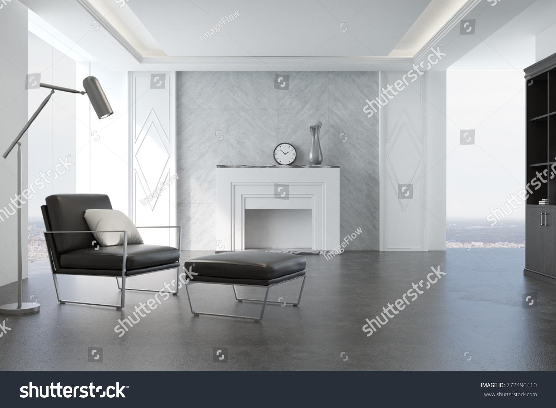 Minimalistic Living Room Interior Gray Walls Stock Illustration ...