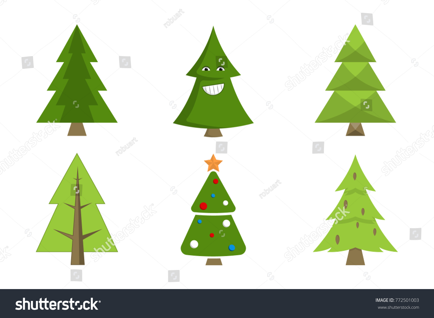 Christmas Tree Collection Spruce Icons Decorative Stock