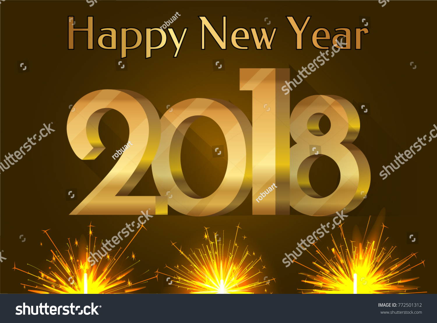 Happy New Year 2018 Placard Number Stock Vector Royalty Free