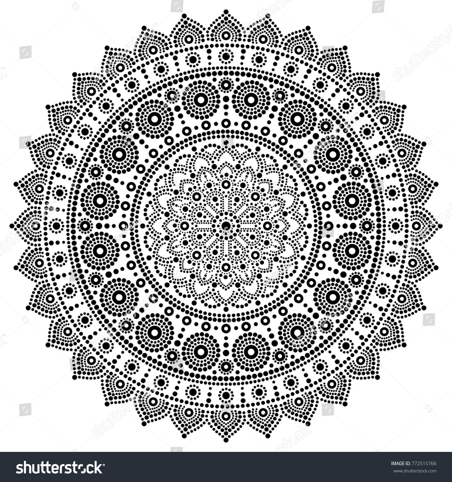 Mandala Vector Monochrome Design Aboriginal Dot Painting Style Australian Folk Art Boho