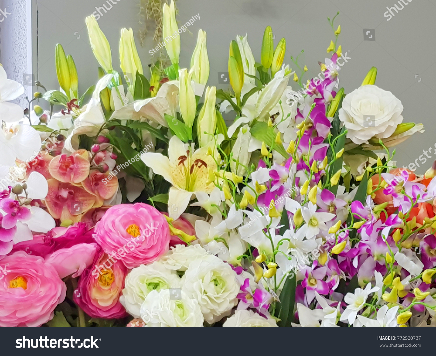 Bright beautiful colors plastic flowers background stock photo edit bright and beautiful colors of plastic flowers background of fake flowers for decorating colorful izmirmasajfo