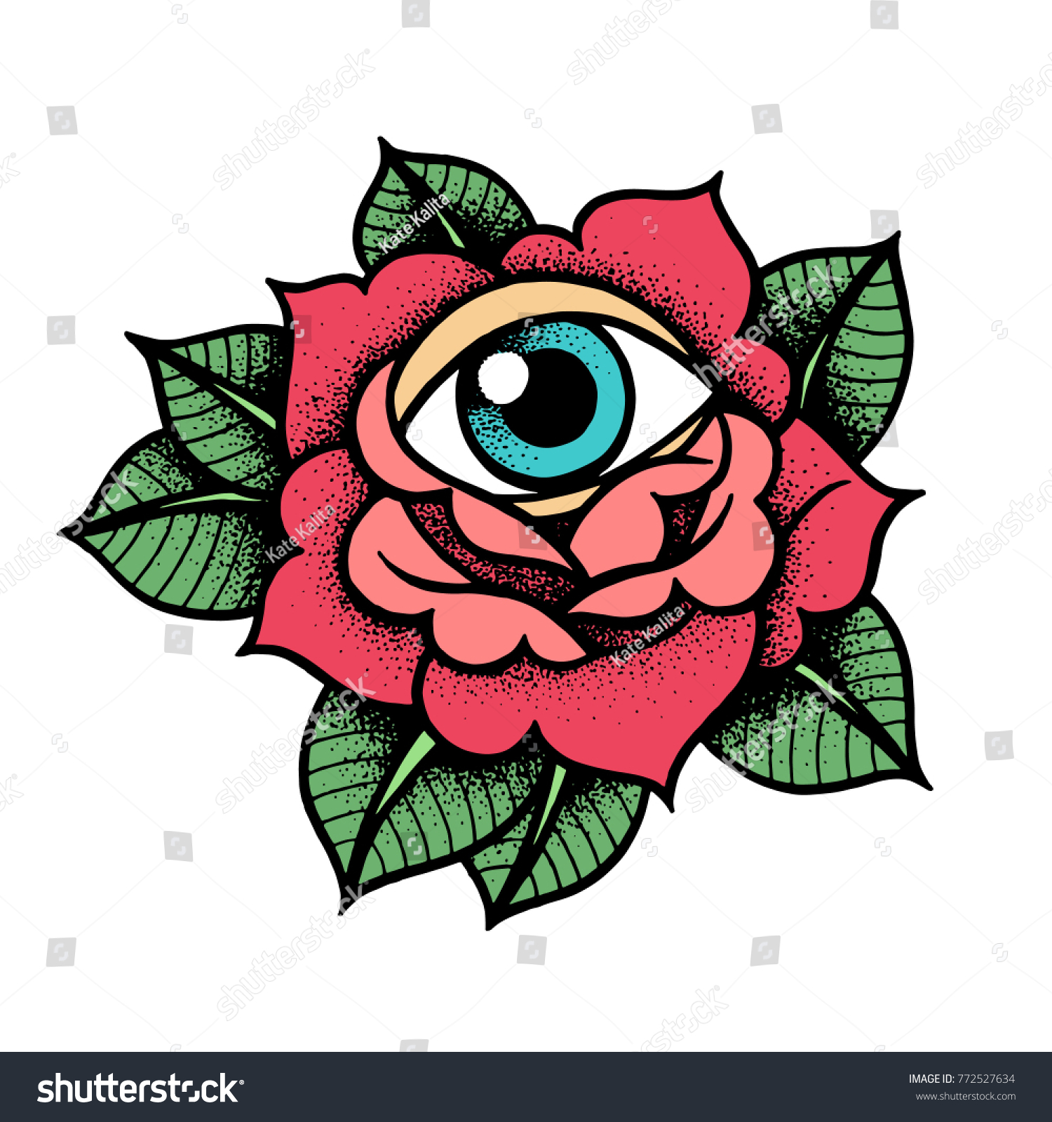 Old School Rose Tattoo Eye Traditional Stock Vector 772527634 ...