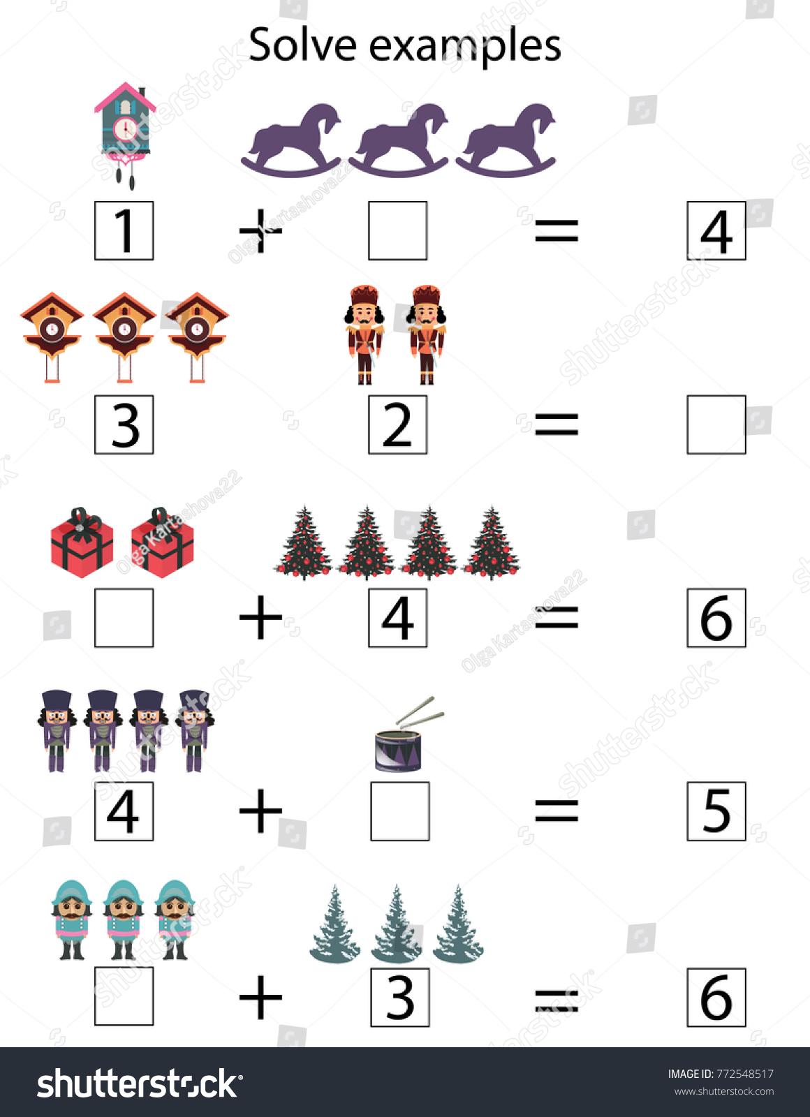 Solve Examples Kids Game Preschool Kindergarten Stock Vector (2018 ...