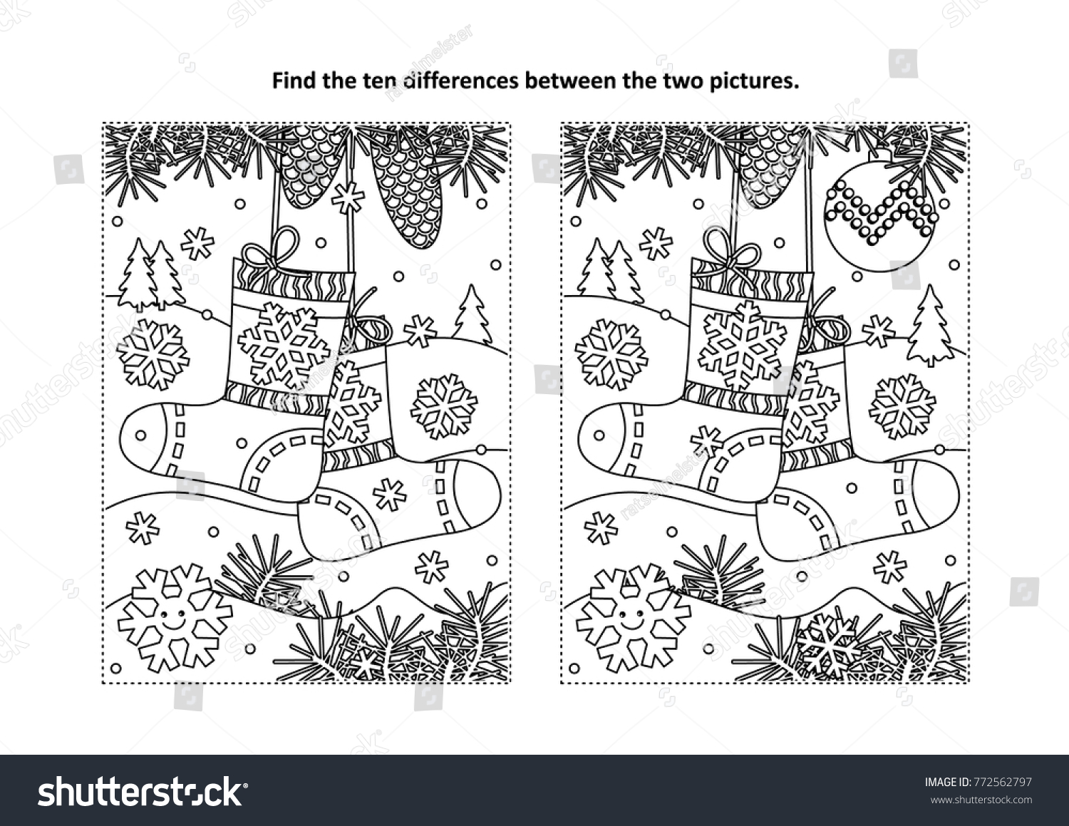 Winter New Year Or Christmas Themed Find The Ten Differences Picture Puzzle And Coloring Page