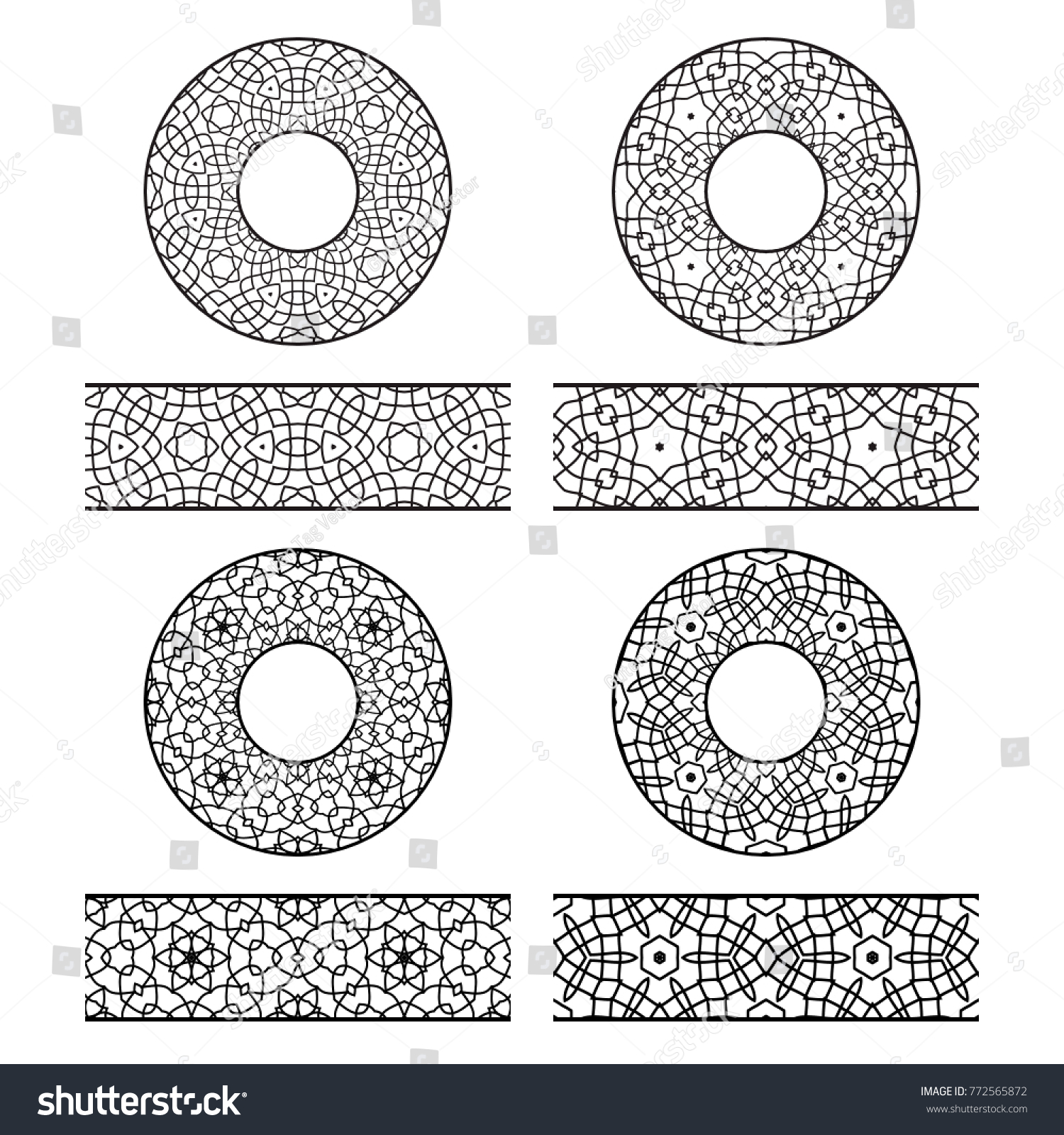 Lace Vector Brushes Templates Round Decorations Stock Vector ...